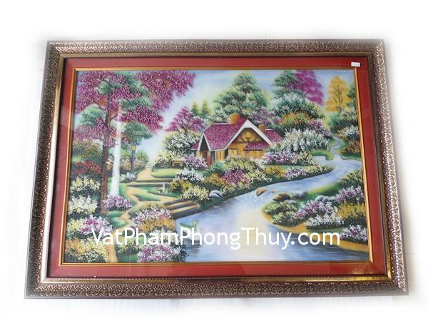 tpc03 1 tranh ngoi nha vit Tranh đá quý phong thủy tinh xảo: Ngôi nhà bên sông TPC03 1